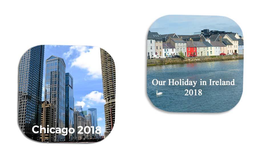 Fuji Fujifilm Galway personalised photo coasters